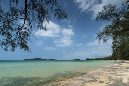 Long Beach on Koh Ta Kiev paradise island near Sihanoukville Cambodia Stock Photo