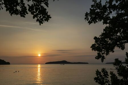 koh russey from Koh Ta Kiev island near Sihanoukville  in Cambodia at sunset