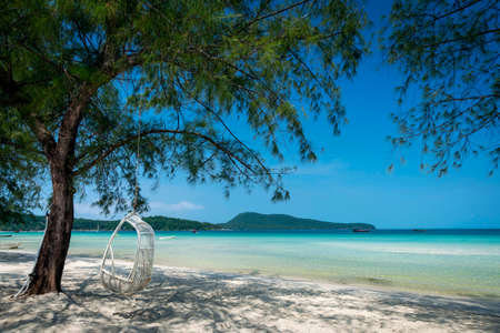 Saracen Bay beach in tropical paradise Koh Rong Samloen island near Sihanoukville in Cambodia