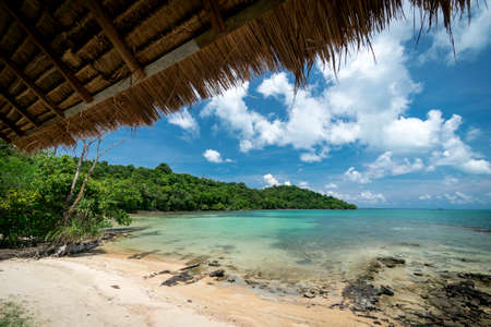 beach view from tropical bungalow in koh ta tiev island near sihanoukville cambodia