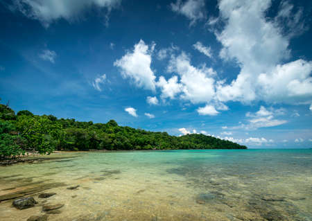 beach view on southern coast of koh ta kiev island near sihanoukville cambodia