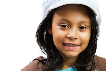 Smiling Latin American girl isolated over white