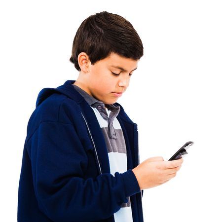 telecommunicating: Caucasian boy text messaging isolated over white