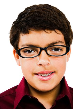 Boy wearing eyeglasses isolated over white Banco de Imagens