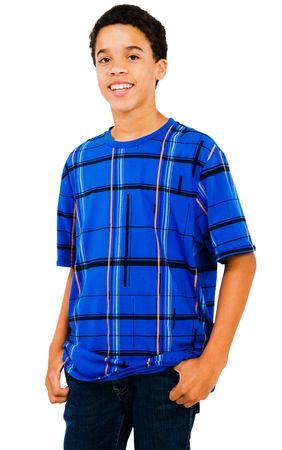 Latin American teenage boy standing isolated over white Stock Photo