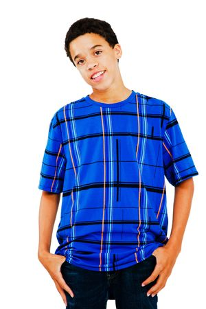 only one teenage boy: Mixed race teenage boy standing isolated over white Stock Photo