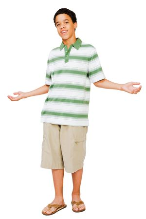 shrugging: Portrait of a teenage boy shrugging isolated over white Stock Photo