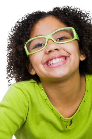 Girl wearing eyeglasses and smiling isolated over white Stock Photo