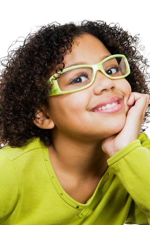 Girl wearing eyeglasses with hand on chin isolated over white