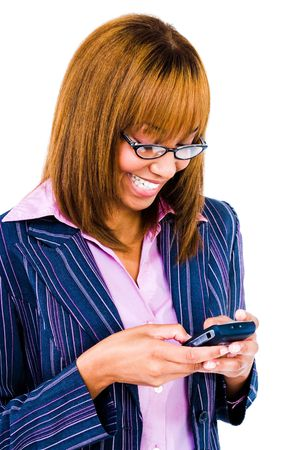 Woman text messaging with a mobile phone isolated over white  photo