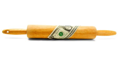 One dollar bill wrapped on a rolling pin isolated over white Banco de Imagens
