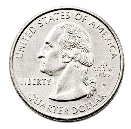 Close-up of an us quarter dollar coin isolated over white Stock Photo