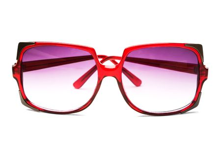 voguish: Close-up of a sunglasses isolated over white Stock Photo