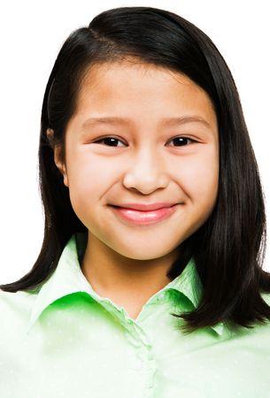 blissfulness: Asian girl smiling isolated over white Stock Photo