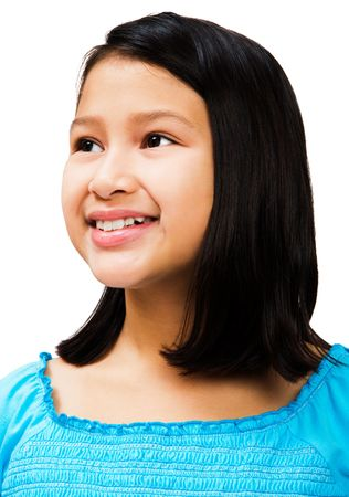 Close-up of a girl day dreaming and smiling isolated over white