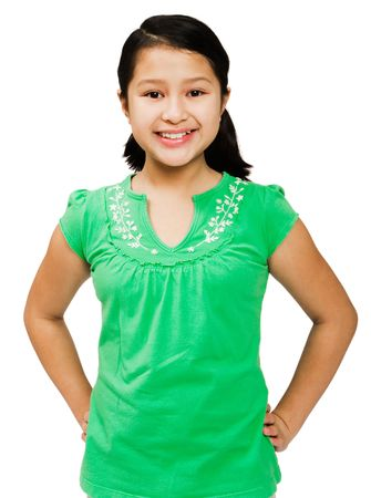 Smiling girl posing and standing isolated over white photo