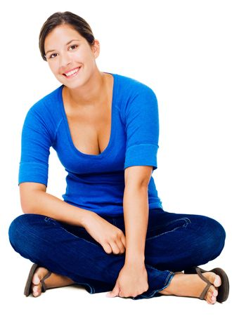 Sitting woman smiling and smiling isolated over white Stock Photo - 4766464