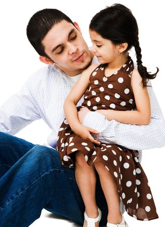 Close-up of a man hugging a girl isolated over white photo