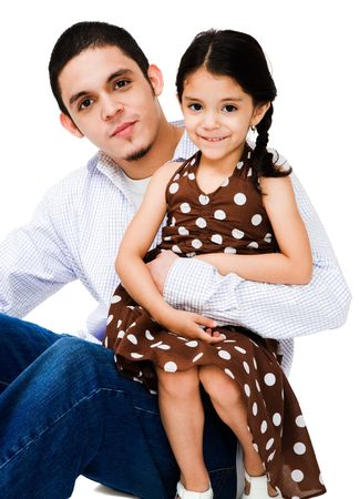 Portrait of a man hugging a girl isolated over white Stock Photo - 4766466