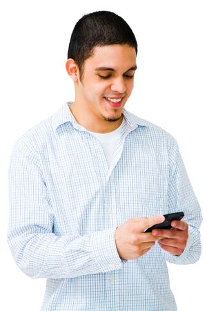 telecommunicating: Happy man using mobile phone isolated over white Stock Photo