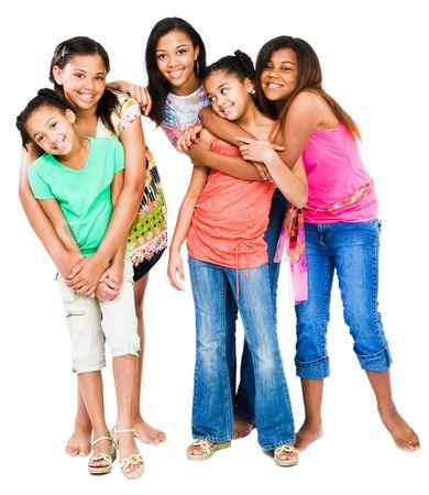 piedi nudi di bambine: African American amici uniti e posa isolato su bianco