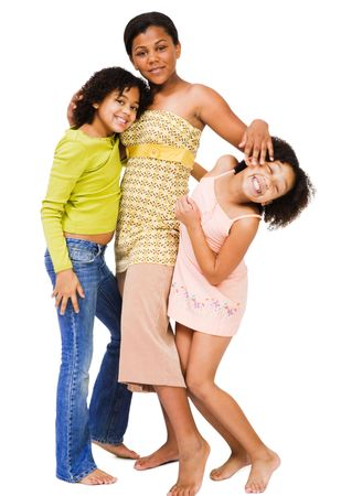 girl bonding: Friends standing together and smiling isolated over white Stock Photo