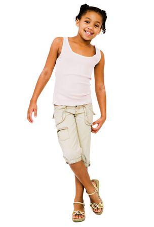 elementary age girls: Happy girl posing isolated over white Stock Photo