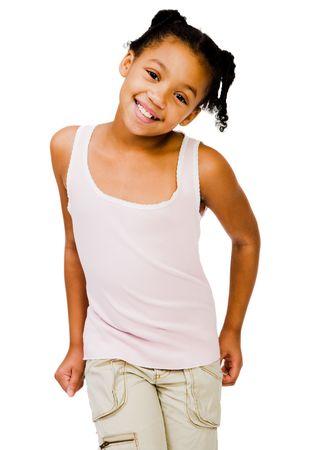 Happy girl posing isolated over white Stock Photo