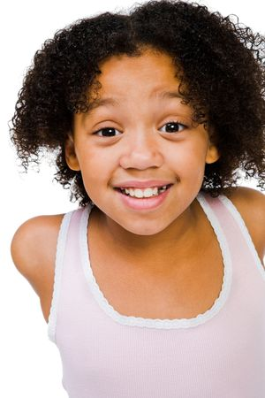 blissfulness: African American girl posing and smiling isolated over white