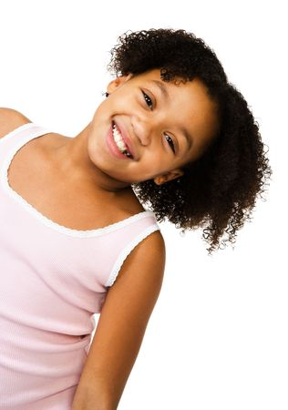 satisfying: Girl stretching her neck and smiling isolated over white Stock Photo