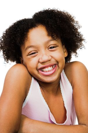 African America girl standing and smiling isolated over white Фото со стока