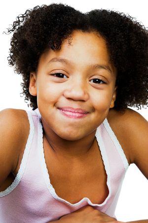 smirking: Beautiful girl smirking isolated over white
