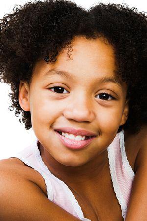 blissfulness: Happy girl posing isolated over white Stock Photo