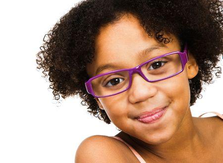 Beautiful girl wearing eyeglasses isolated over white photo