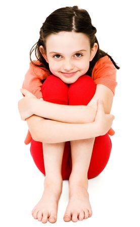 piedi nudi di bambine: Close-up di una ragazza sorridente isolati su bianco