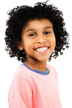 Happy child posing isolated over white