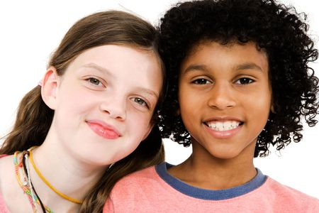 Two friends smiling isolated over white Stock Photo