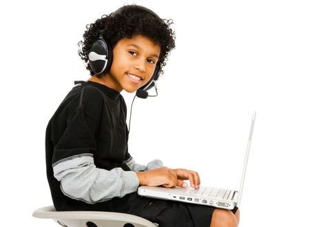 Boy surfing the net isolated over white Stock Photo