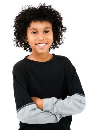 Mixed race boy standing with his arms crossed isolated over white