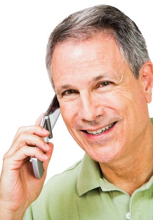 Smiling man talking on a mobile phone isolated over white photo