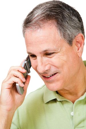 telecommunicating: Happy man talking on a mobile phone isolated over white