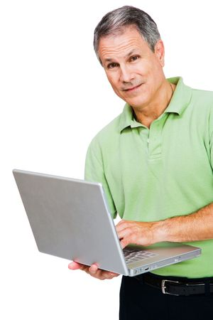 Portrait of a man working on a laptop isolated over white Stock Photo - 4941158