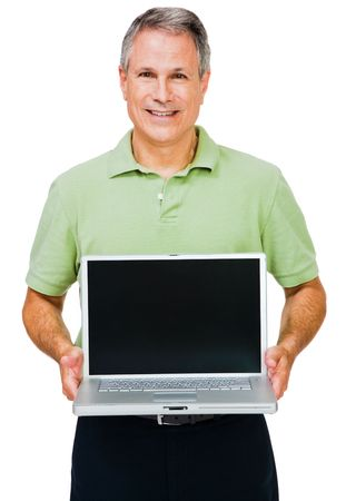 telecommunicating: Close-up of a man showing a laptop isolated over white Stock Photo