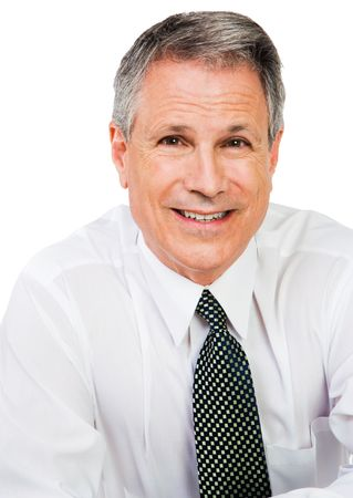 Portrait of a businessman smiling isolated over white