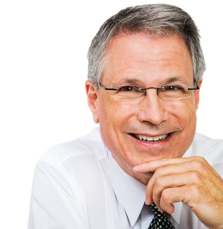 Close-up of a businessman smiling isolated over white