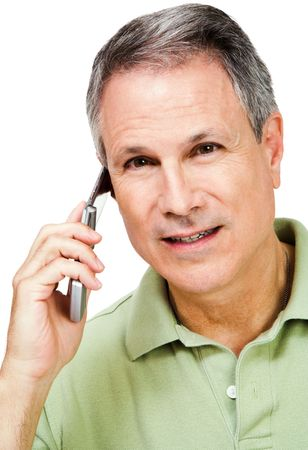 telecommunicating: Portrait of a man on the phone isolated over white