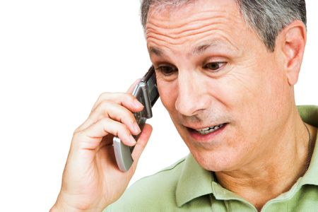 telecommunicating: Close-up of a man talking on a mobile phone isolated over white Stock Photo