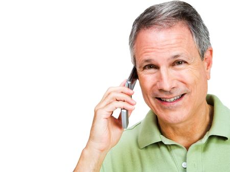 telecommunicating: Smiling man talking on a mobile phone isolated over white Stock Photo