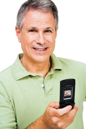 telecommunicating: Happy man text messaging on a mobile phone isolated over white Stock Photo