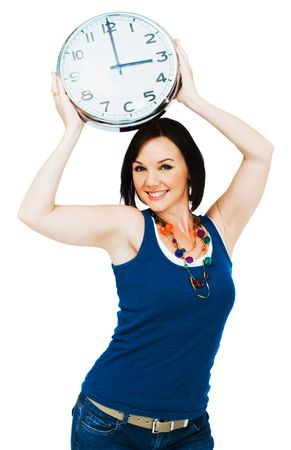 blissfulness: Happy woman holding a clock isolated over white